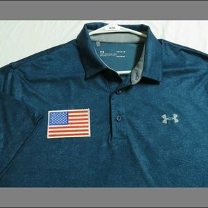 Sz L Under Armour Heat-Gear Usa Mens db #A00 Polo